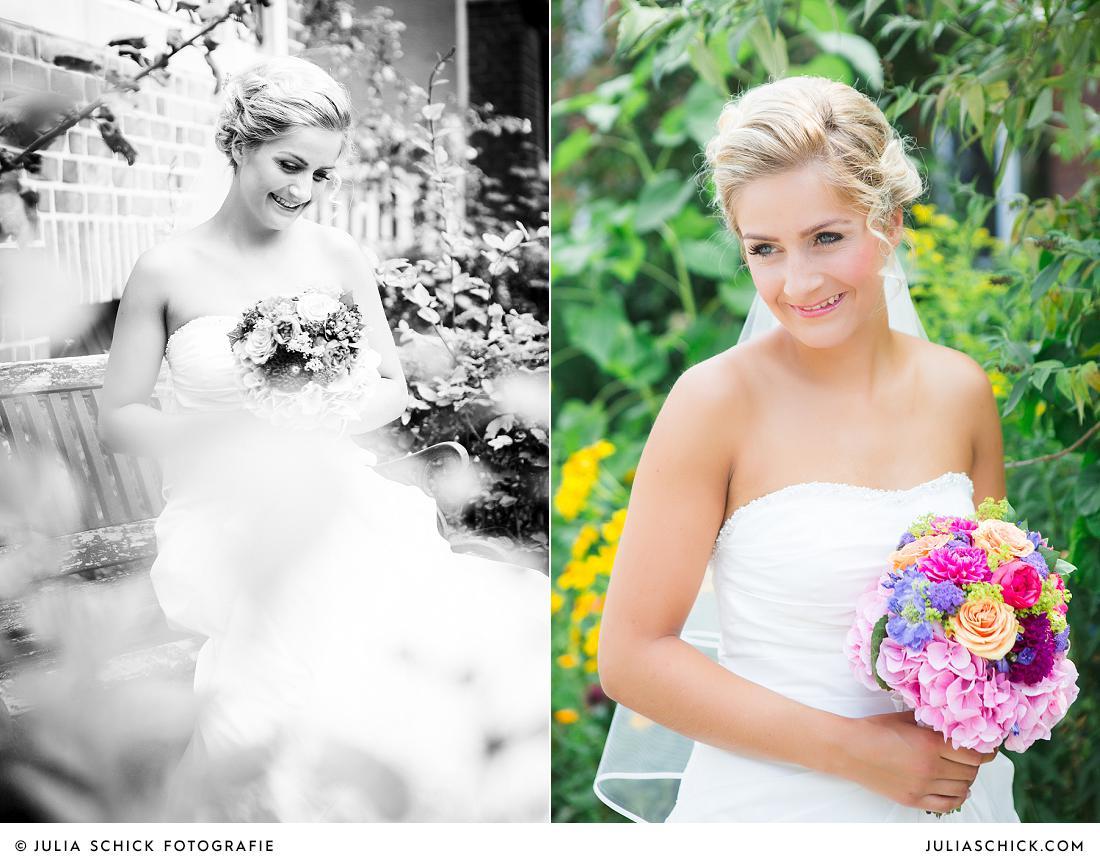 Braut mit buntem Brautstrauß von Florist Jens Weidemann