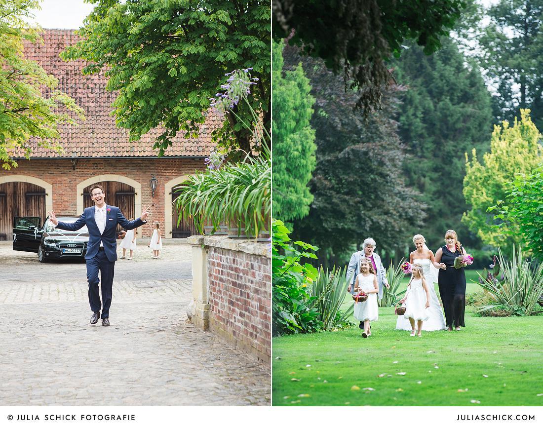 Bräutigam auf Burg Hülshoff, Braut schreitet zur Freien Trauung