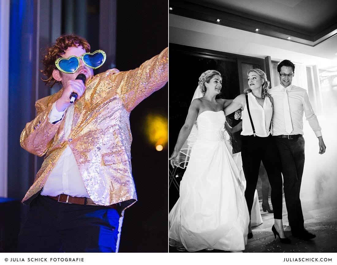 Feierndes Brautpaarbei Hochzeit im Stapelskotten