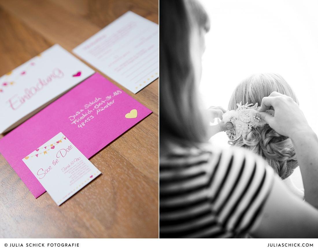 Hochzeitspapeterie in rosa, weiß und gelb