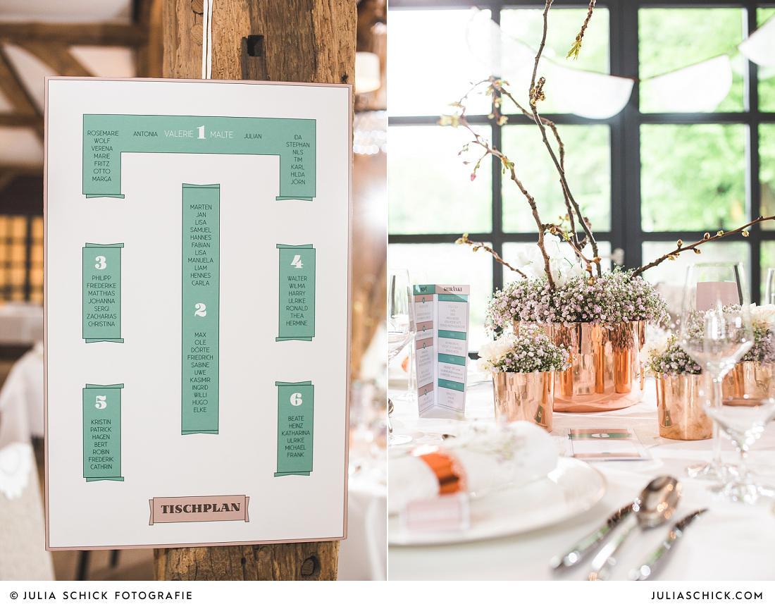 Hochzeitstischdekoration vintage mit Tischplan erstellt von Hochgestalten im Torhaus des Hof zur Linde