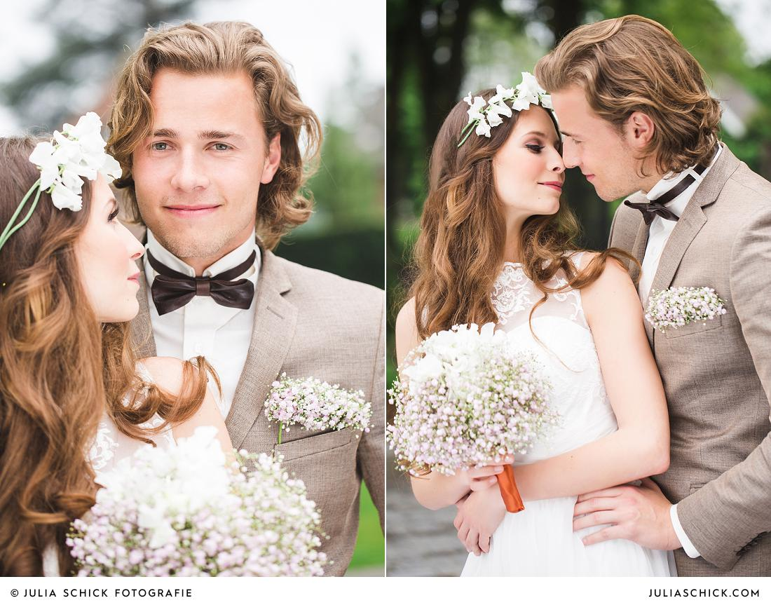 Vintage Braut mit Blumenkranz und Brautstrauß aus Schleierkraut von Florist Jens Weidemann auf dem Hof zur Linde