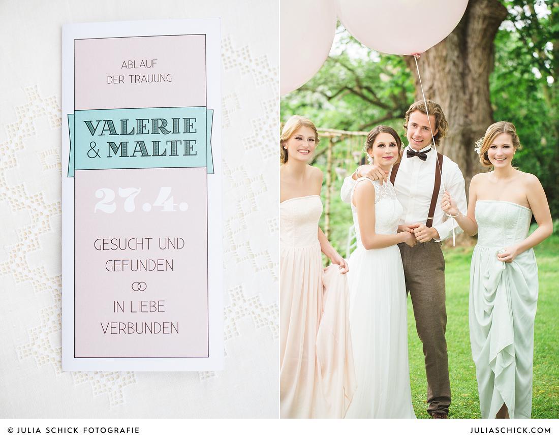 Trauheft von Hochgestalten, Brautpaar auf Vintage Hochzeit mit Brautjungfern in mint und altrosa