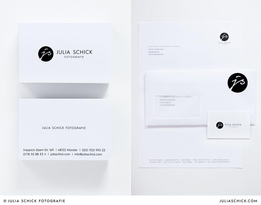 Visitenkarte mit neuem Logo Julia Schick Fotografie