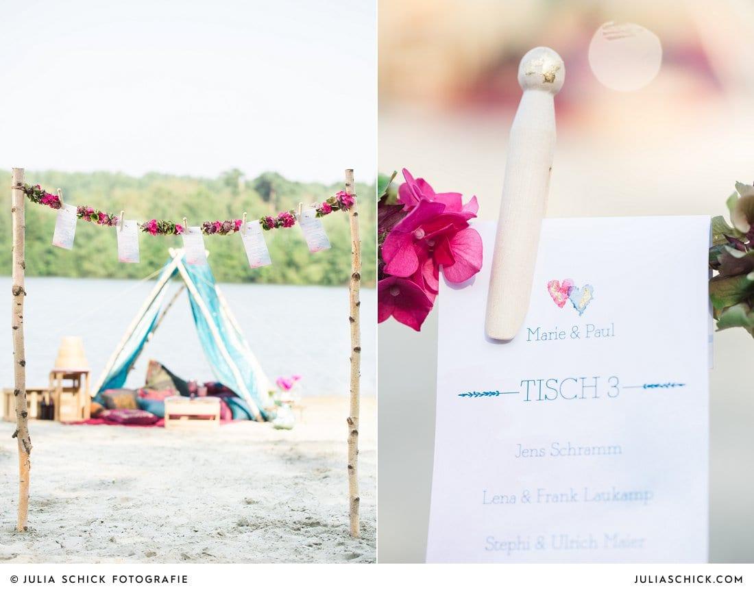 Butlers Teller Sumatra Hochzeitspapeterie imi wedding, Zelt im Boho Stil