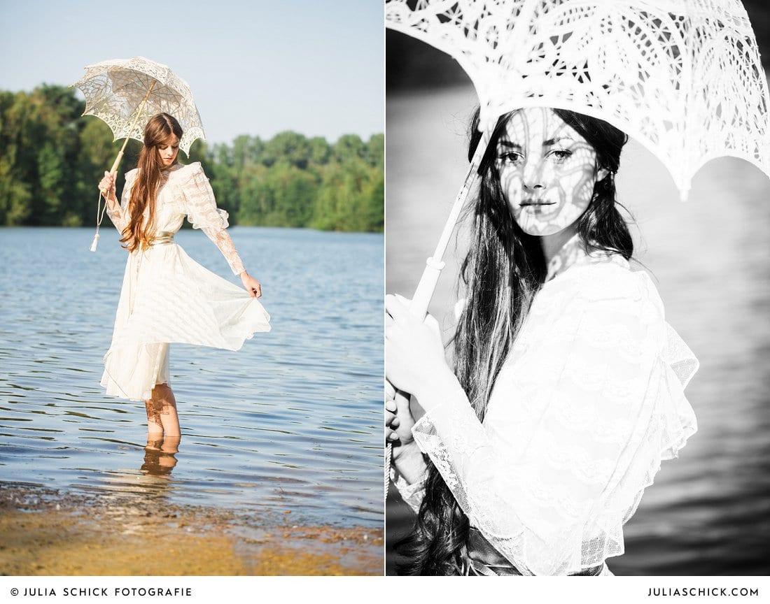 Braut mit Spitzenschirm