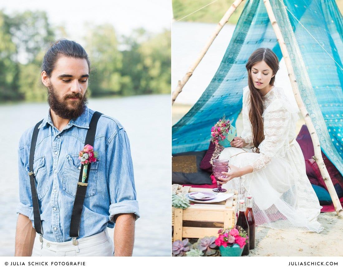 Bärtiger Bräutigam in Jeanshemd und Hosenträgern mit Anstecker, Braut in Vintage Spitzenkleid