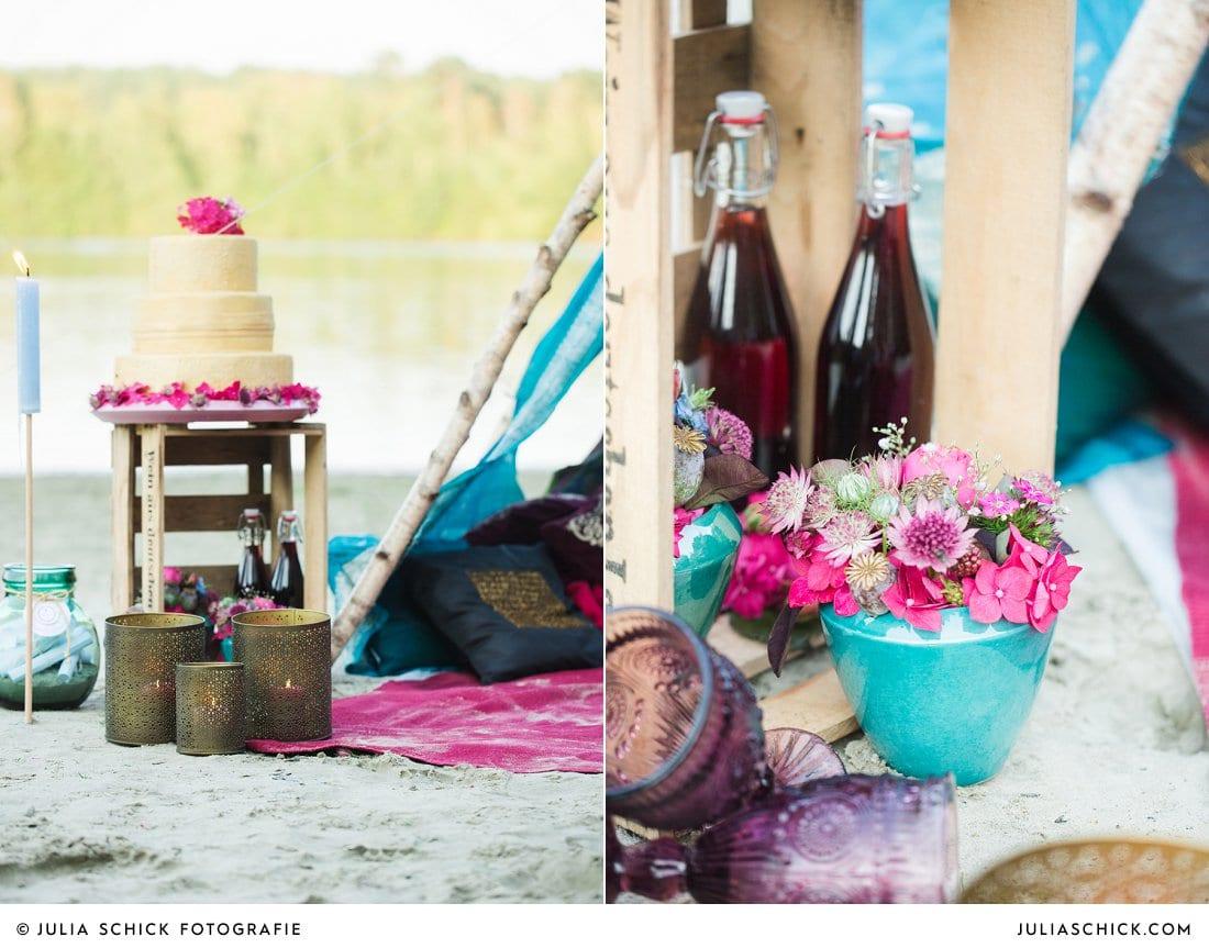 Hochzeitsdekoration in blau und magenta am Hiltruper See