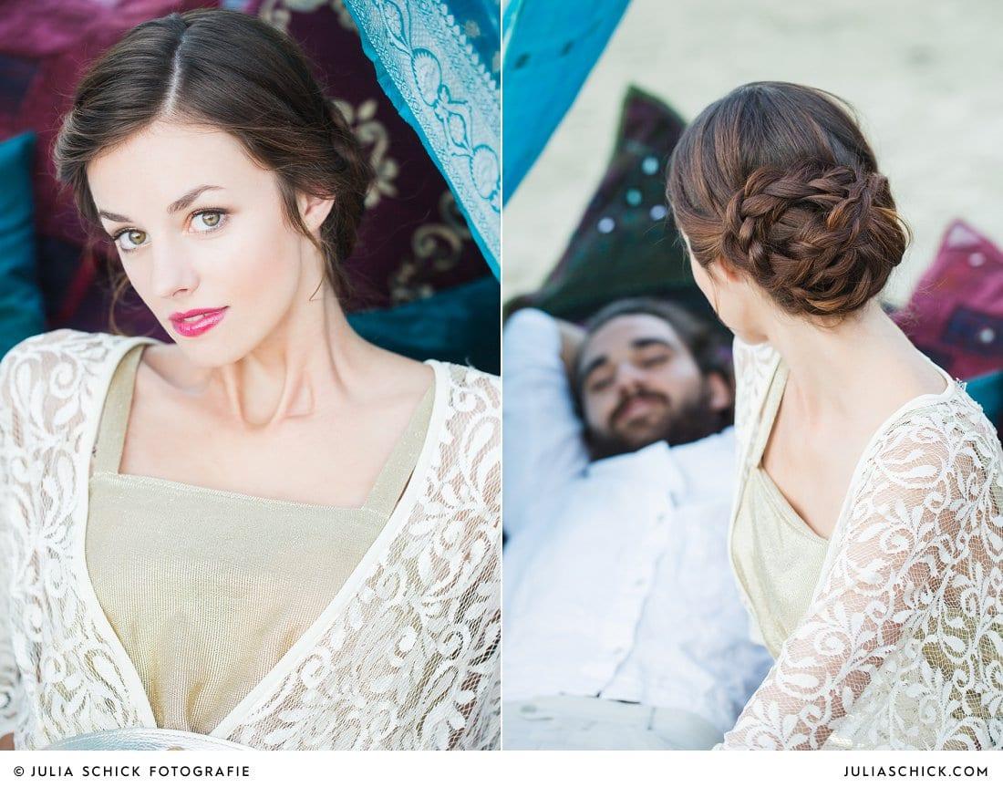 Hochzeitsfoto von Braut im goldenen Spitzenkleid