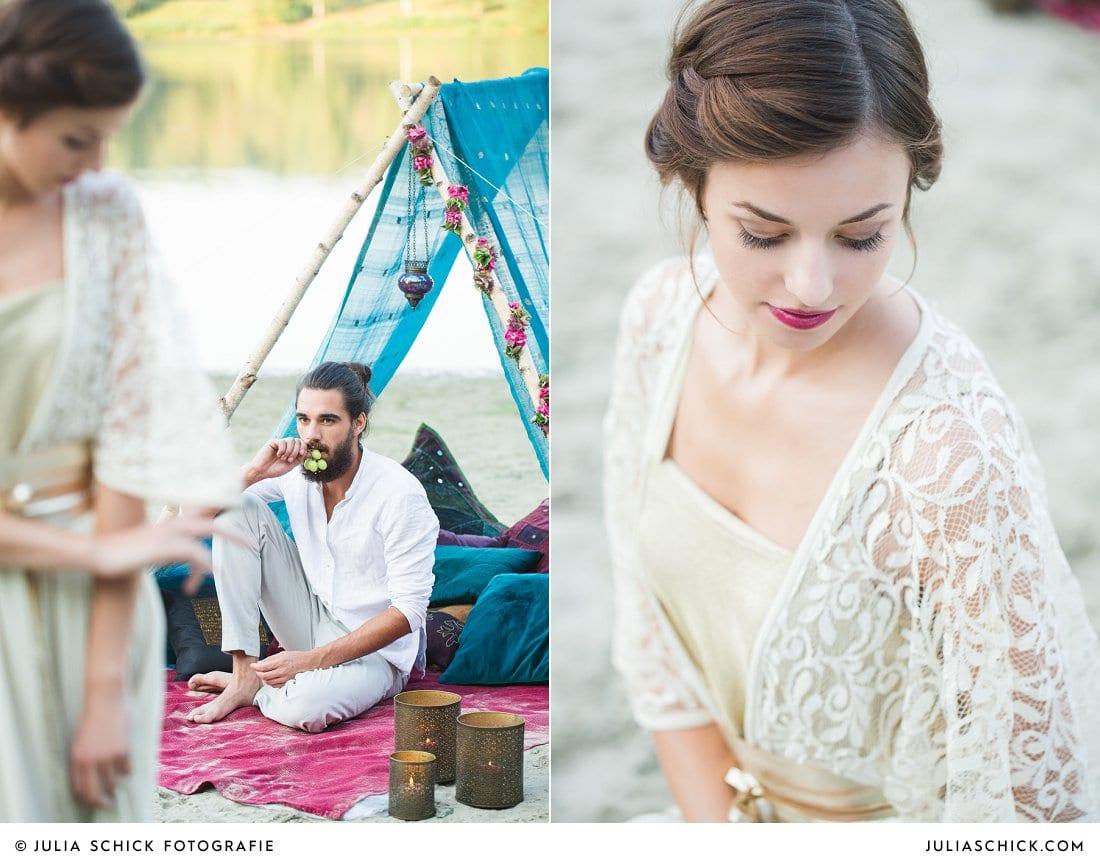 Bräutigam vor Hippie-Tipi, Braut mit Flechtfrisur