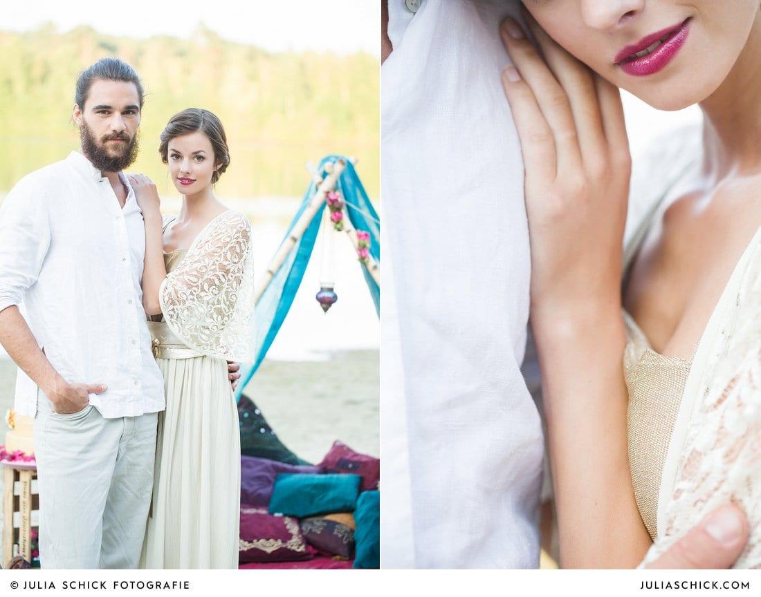 Boho-Hippie-Hochzeitsshooting Brautpaar vor Zelt mit Kissen