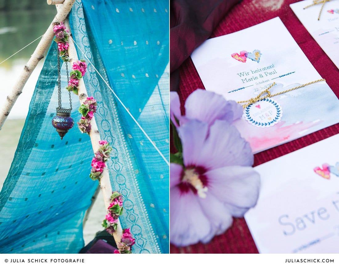 Boho-Hippie-Hochzeitspapeterie im Aquarell-Look mit Blattgold