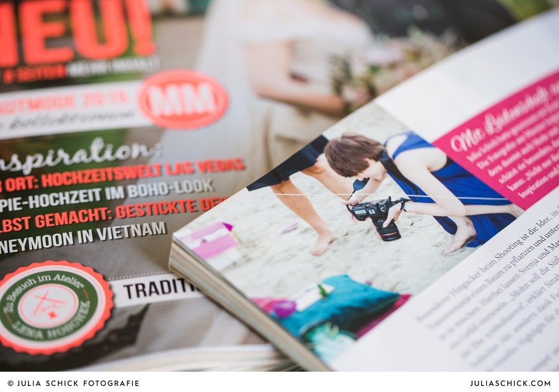Hochzeitsmagazin marrymag 1/2015 Making of Style Shoot Hochzeitsfotografin Julia Schick bei der ARbeit