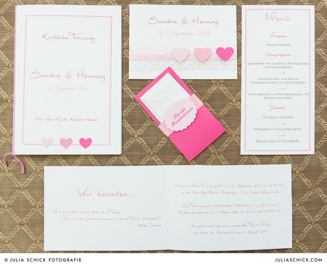 rosa Hochzeitspapeterie