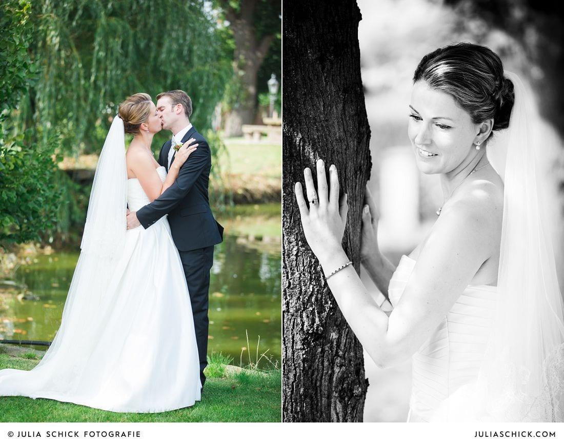 Brautpaar am Teich auf Gut Kump, Hochzeitsfotoshooting