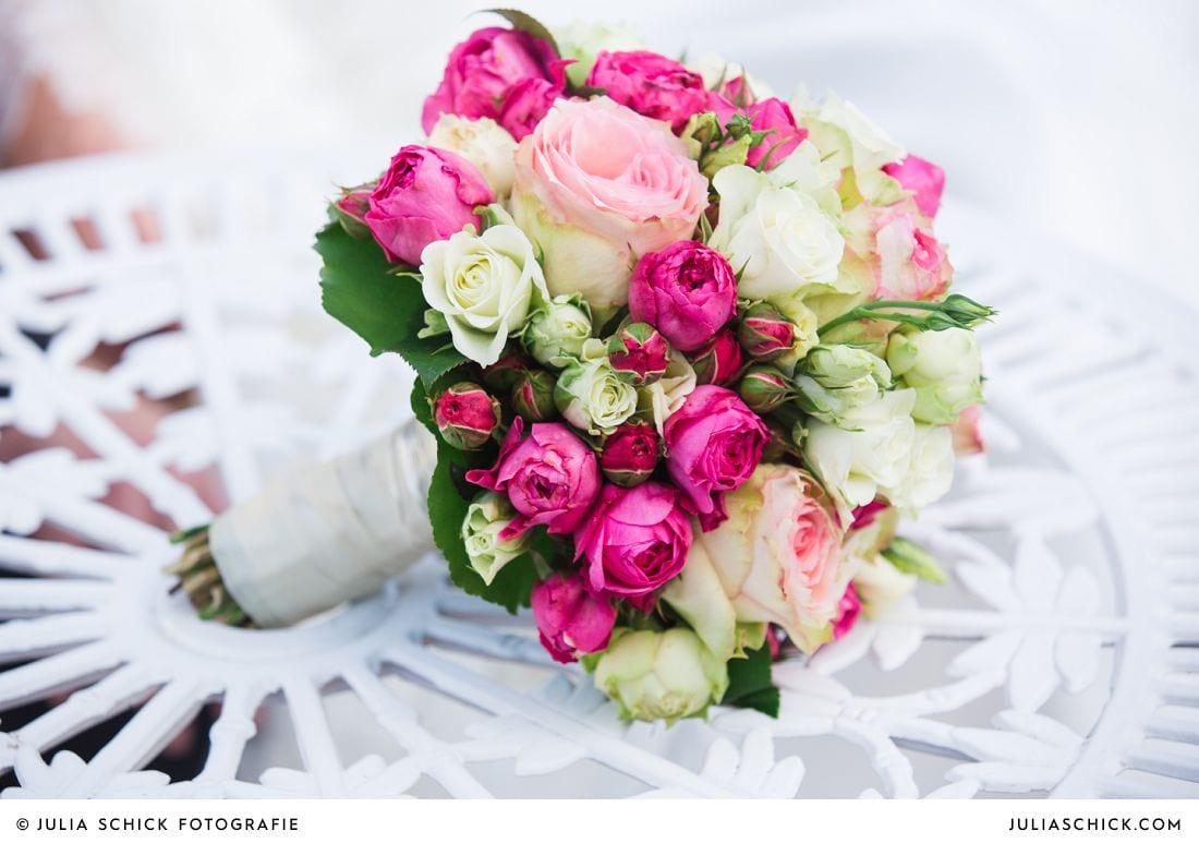 Brautstrauß in pink, rosa und weiß