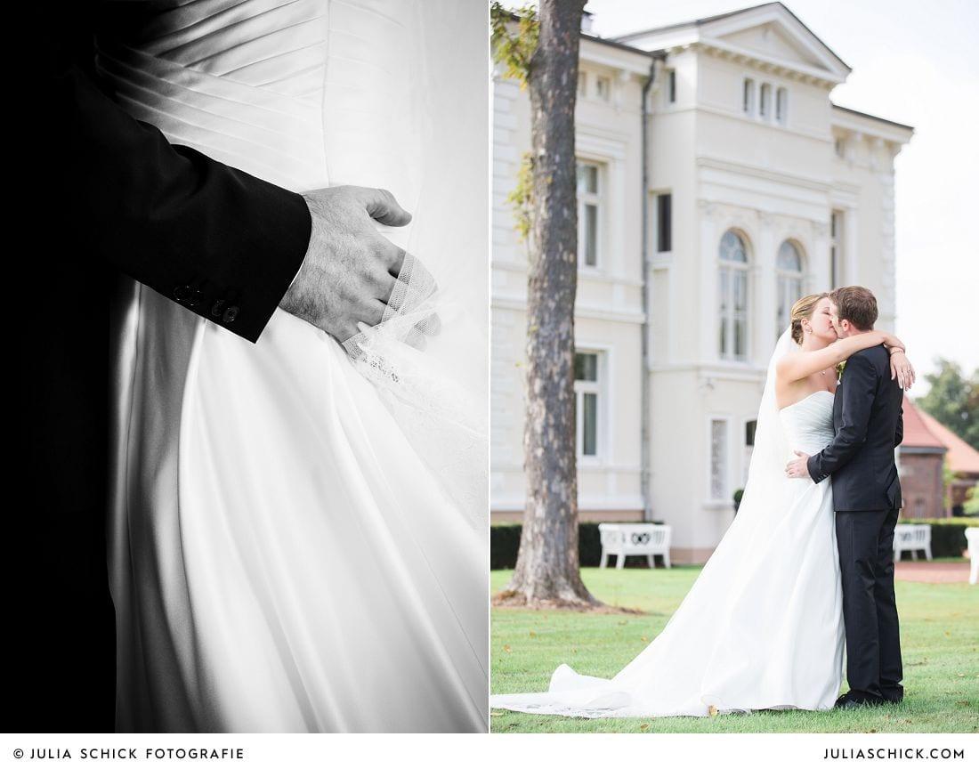 Brautpaar vor Gut Kump in Hamm, Hochzeitsfotografie