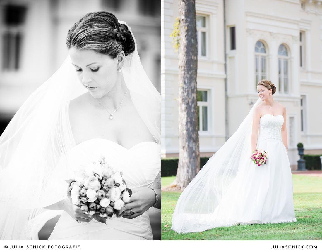 Braut vor Gut Kamp in Hamm beim Hochzeitsfotoshooting