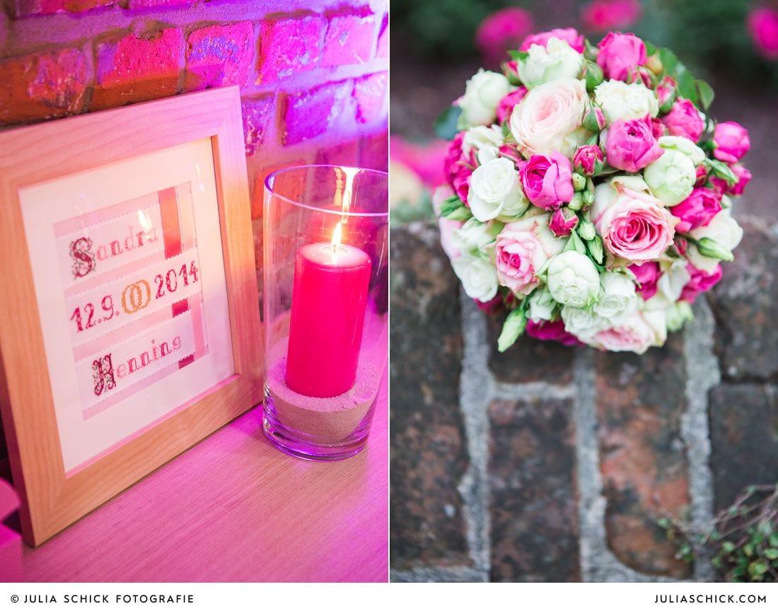 Hochzeitsdekoration und Brautstrauß in rosa pink und weiß