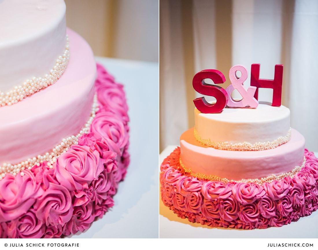 Hochzeitstorte mit Buchstaben S & H auf Gut Kump in Hmm