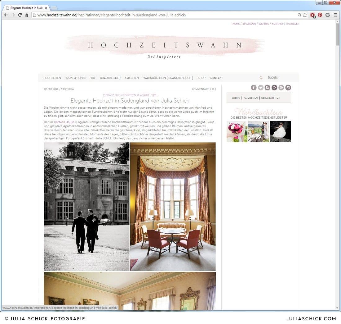 Veröffentlichung auf Hochzeitswahn von Hochzeitsfotografin Julia Schick