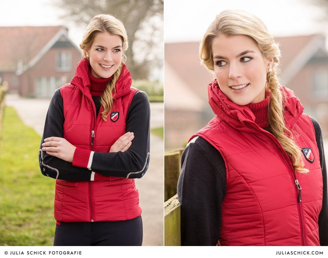 Blondes Model in Weste aus Kollektion HKM Pro Team Herbst/Winter 2014/2015 auf Vechtehof Egbers