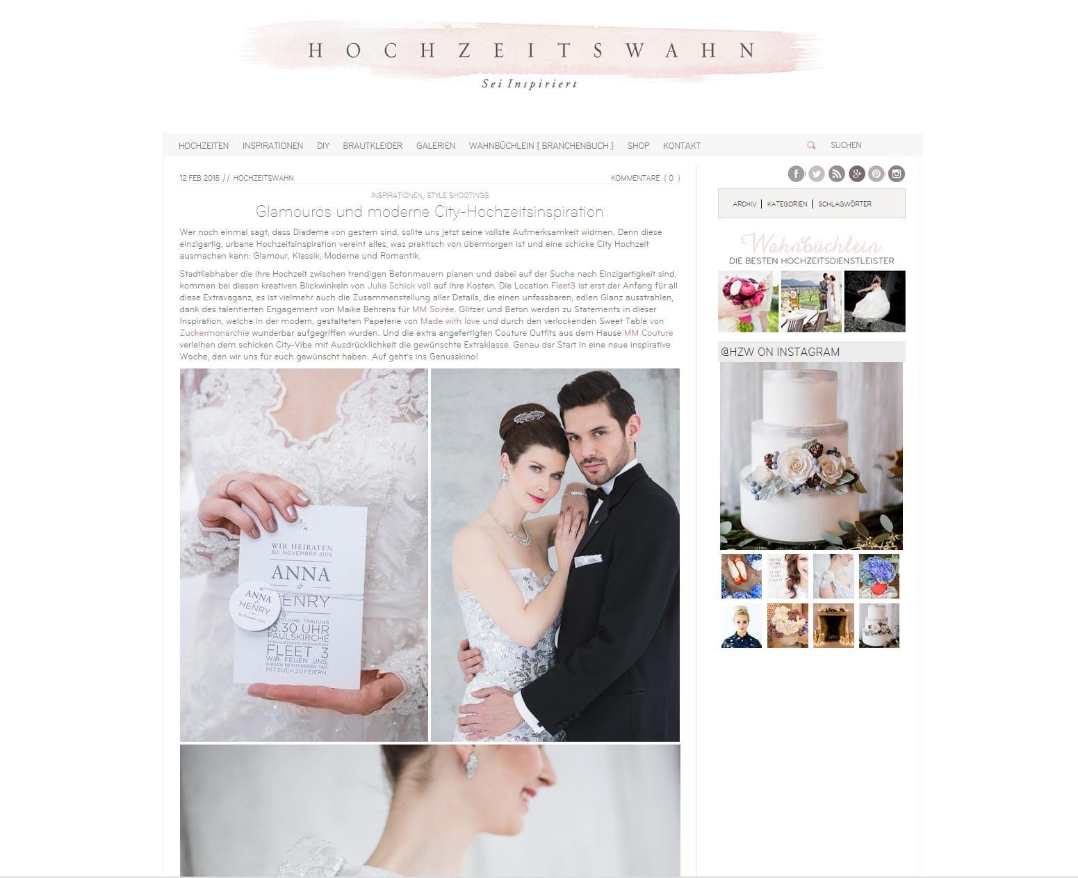 Feature auf Hochzeitswahn von Hochzeitsfotografin Julia Schick aus Münster