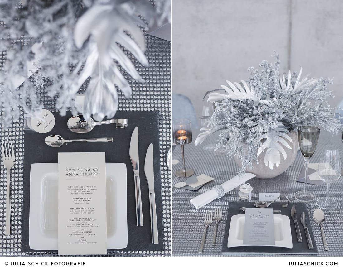 Tischdekoration passend zum Hochzeitskonzept zum Thema Beton meets Glamour im Fleet 3 in Hamburg Finkenwerder