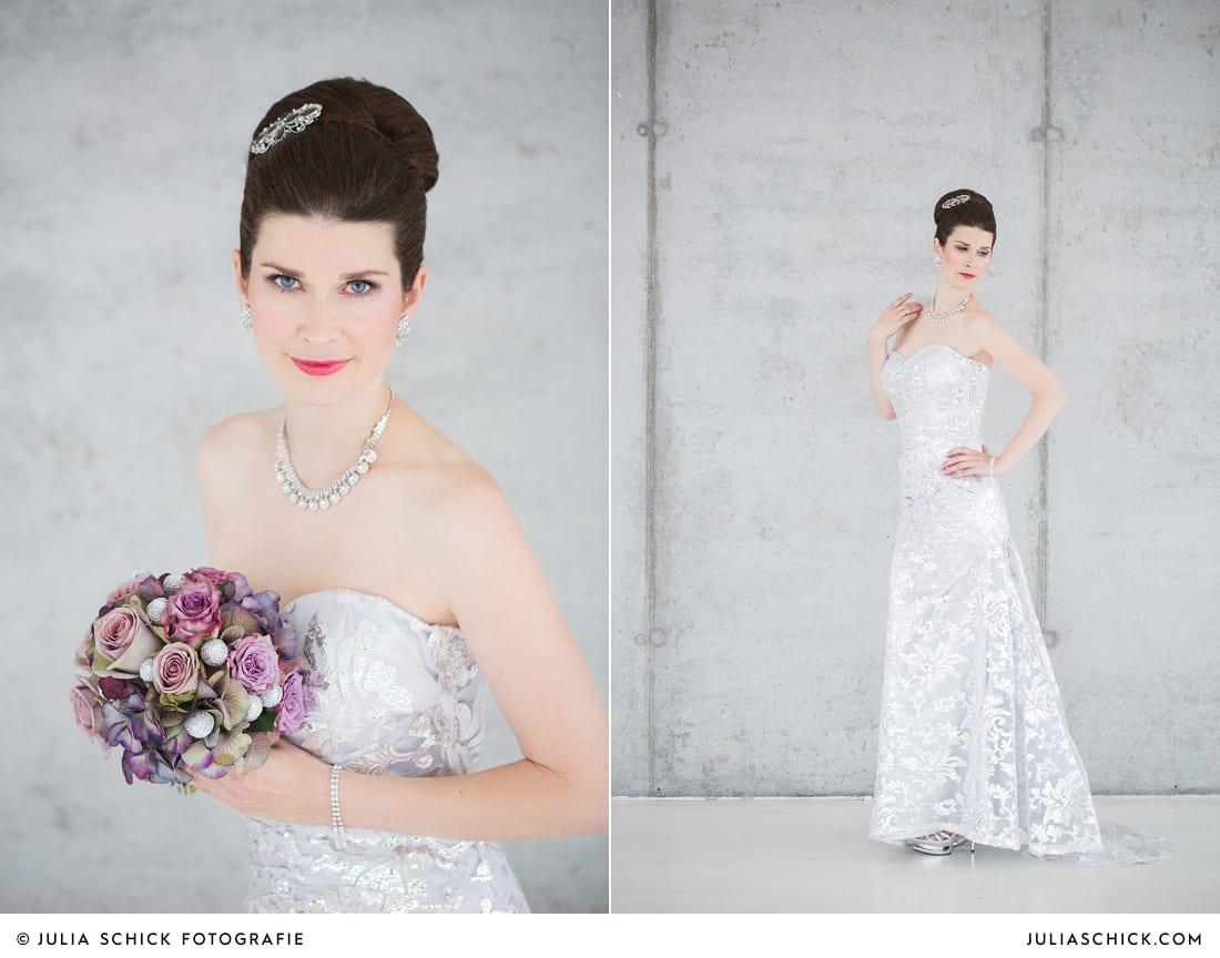 Braut in Brautkleid von MM Couture umit lila Brautstrauß vor Betonwand in der Hochzeitslocation Fleet3 in Hamburg Finkenwerder