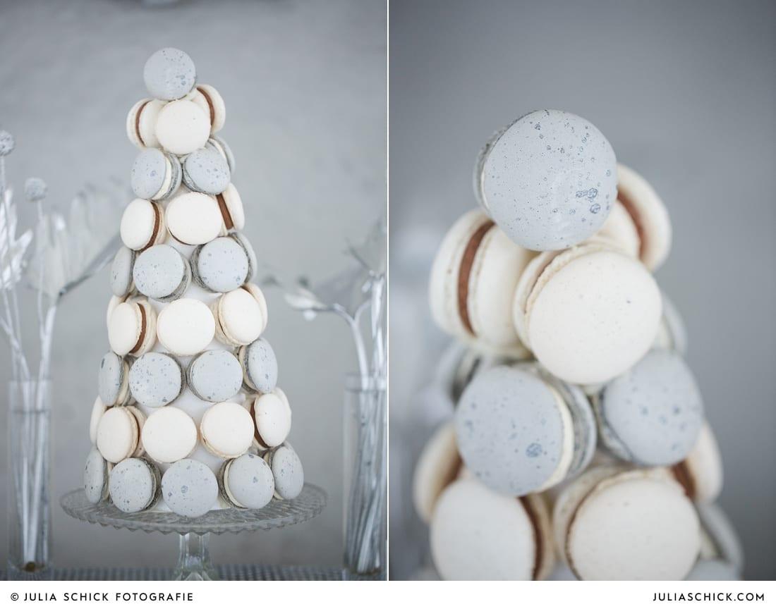 Macarons in weiß und grau in Betonoptik Candybar und Sweettable von Zuckermonarchie vor Betonwand in der Hochzeitslocation Fleet3 in Hamburg Finkenwerder
