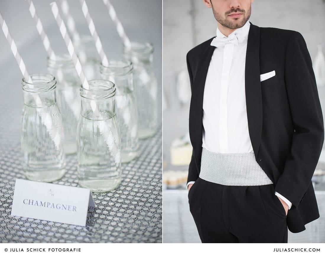 Champagner auf Sweettable zur Hochzeit in der Hamburger Hochzeitslocation Fleet3