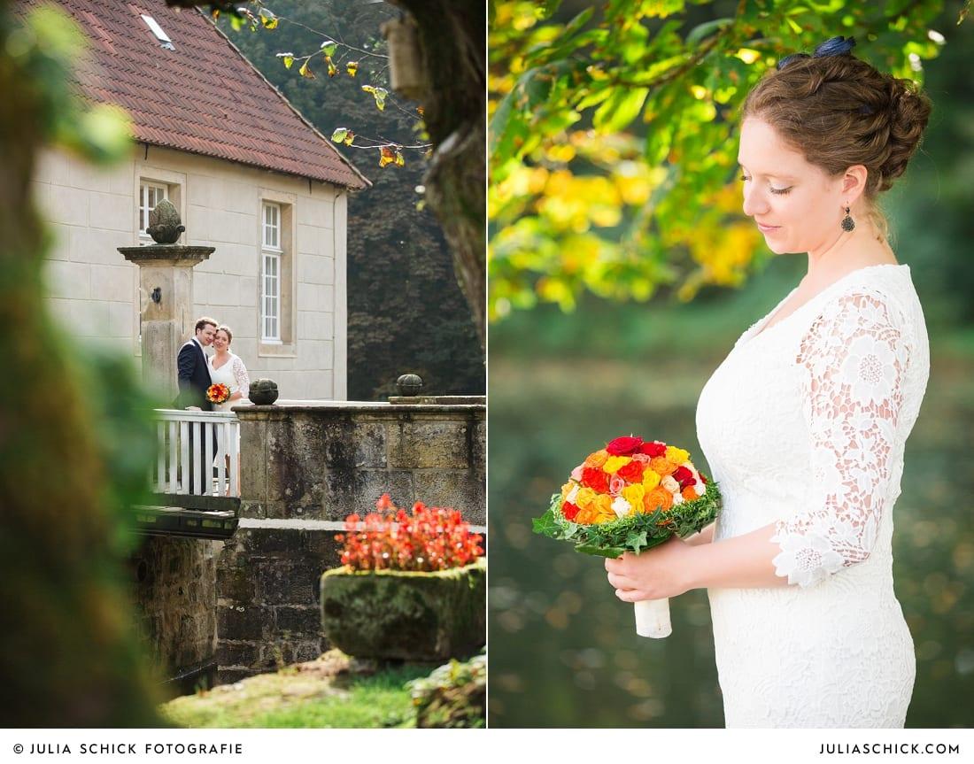 Brautpaar vor standesamtlicher Trauung Haus Marck