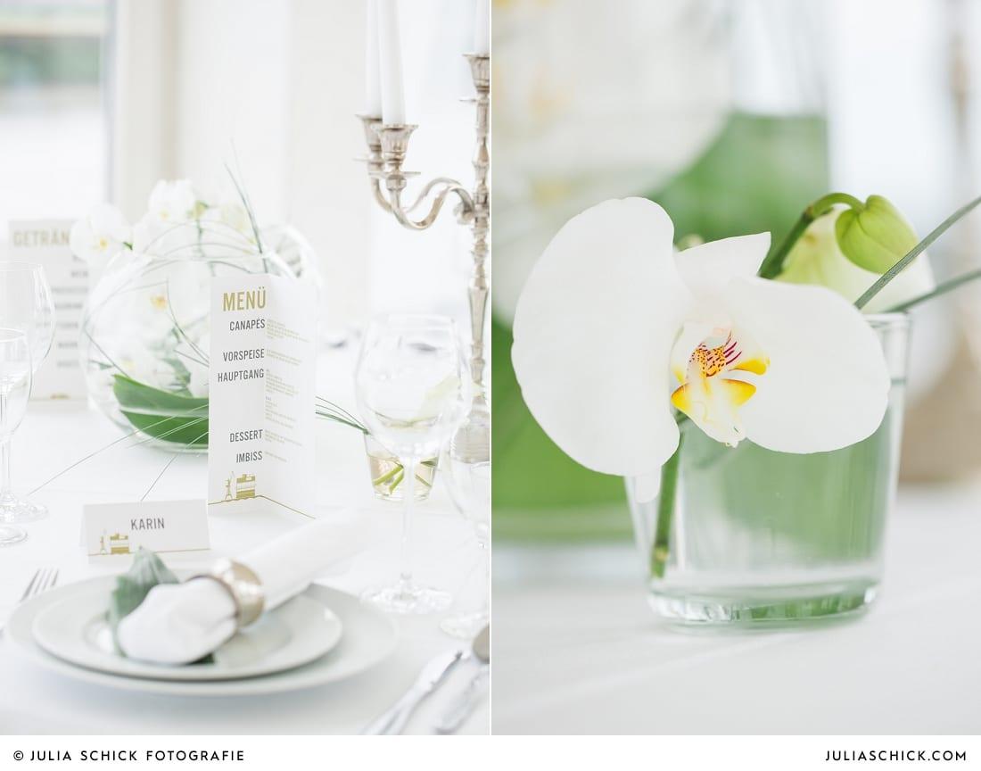 Von MM Soiree arrangierte Hochzeitsdekoration mit Orchideen im Fleet3 in Hamburg Finkenwerder
