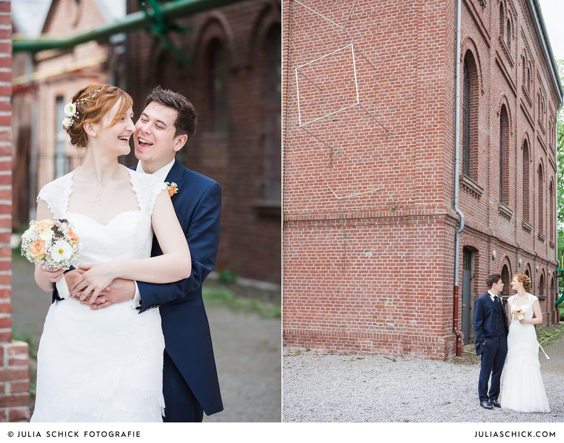Brautpaar macht Hochzeitsfotos an der Künstlerzeche unser Fritz in Herne
