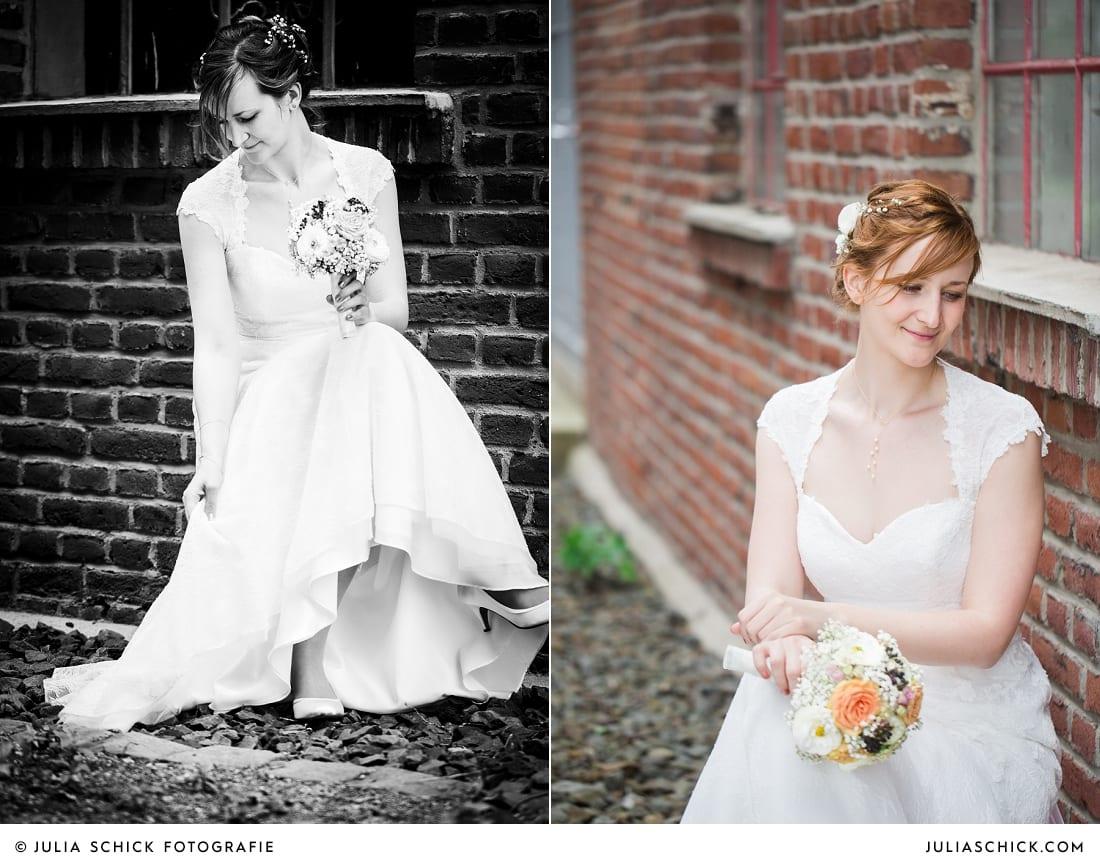Braut bei Hochzeitsfotoshooting auf der Künstlerzeche Unser Fritz in Herne