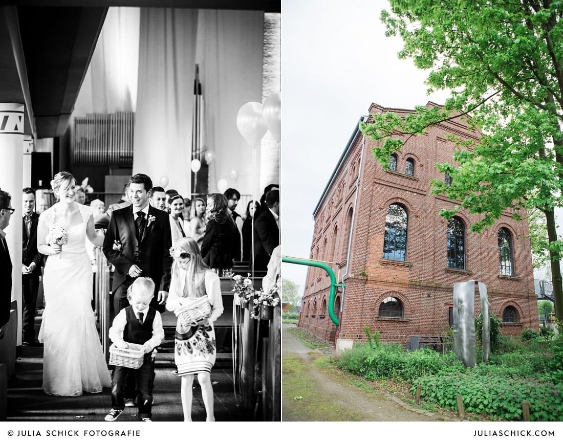 Auszug des Brautpaares bei kirchlicher Hochzeit in Gelsenkirchen, Künstlerzeche unser Fritz in Herne