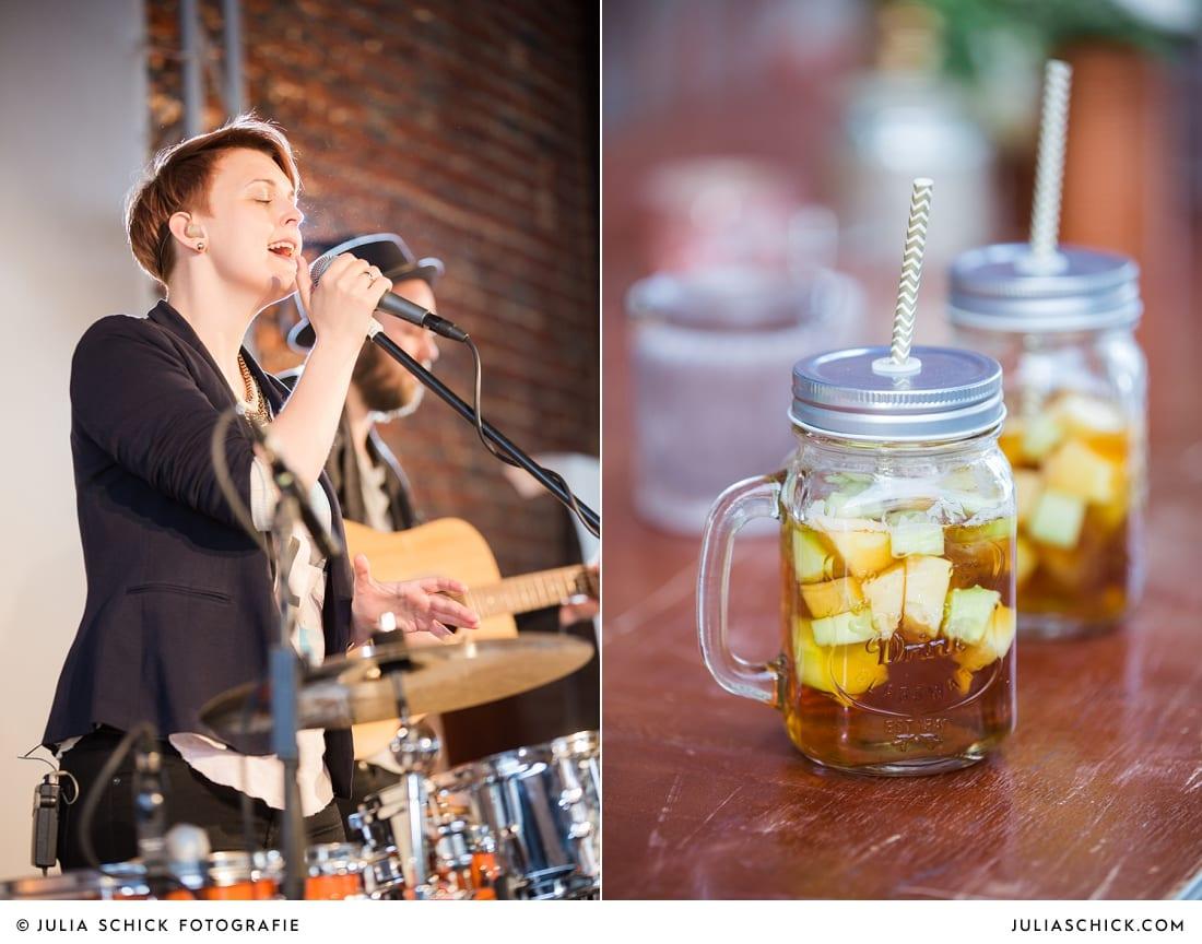 Band on a Sunday singt bei Hochzeit auf der Künstlerzeche Unser Fritz in Herne, Glas mit Pimm'S