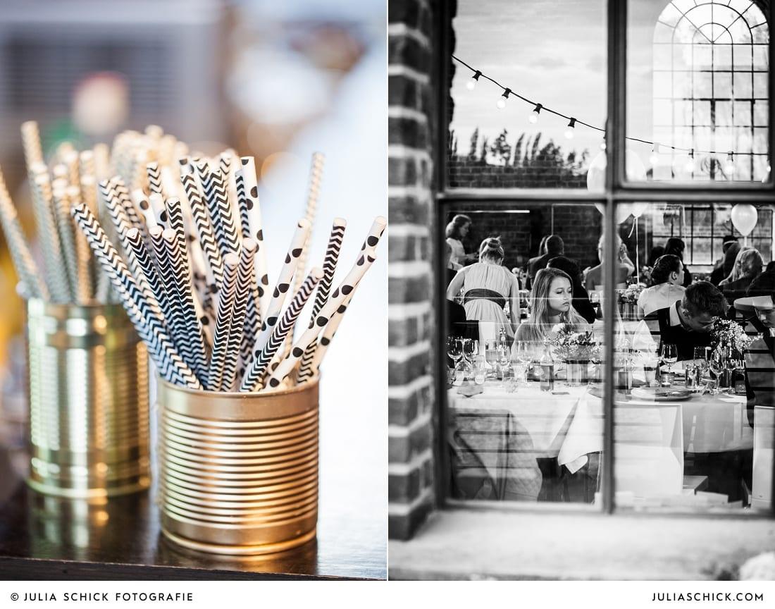 Motivstrohhalme, Blick durchs Fenster bei Hochzeitsfeier in Künstlerzeche Unser Fritz in Herne