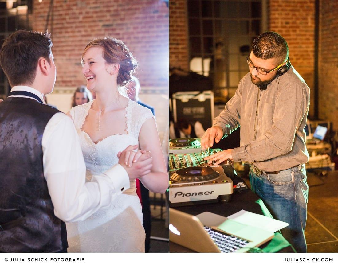 Brautpaar tanzt Hochzeitstanz bei Hochzeitsfeier auf der Künstlerzeche Unser Fritz in Herne