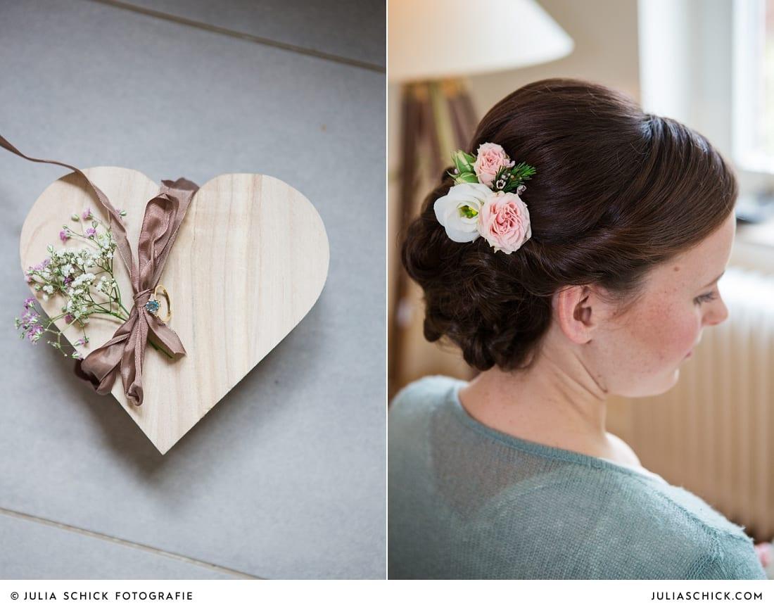 Verlobungsring, Brautfrisur mit Rosen im Haar