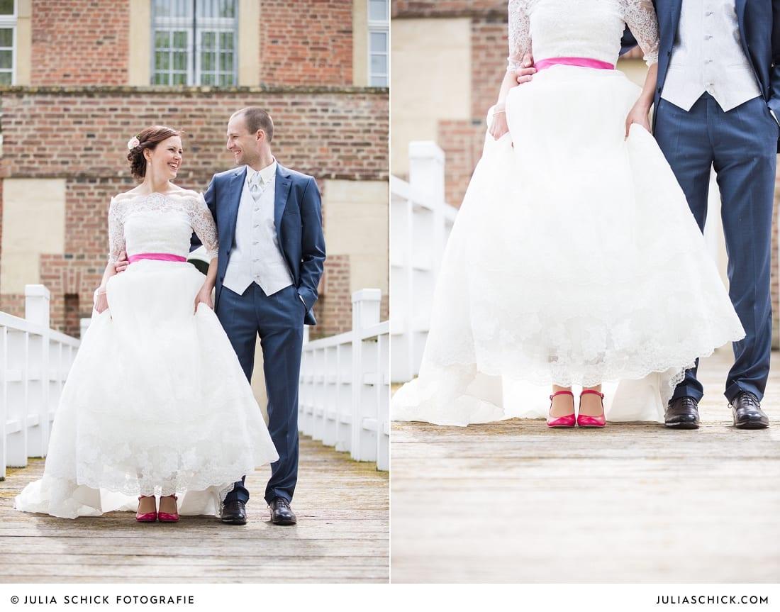 Pinke Brautschuhe, Hochzeitsfotos Burg Hülshoff