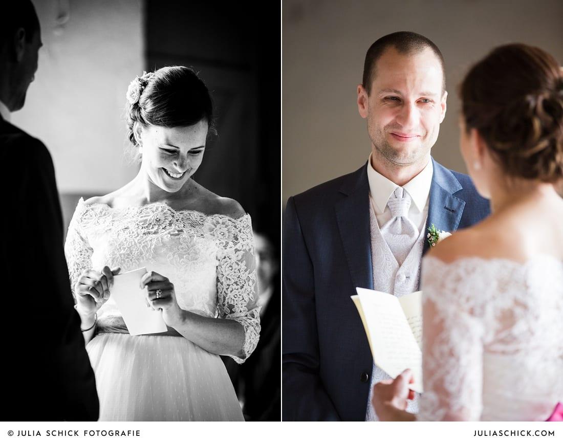 Liebesschwur der Braut bei freier Trauung auf Burg Hülshoff