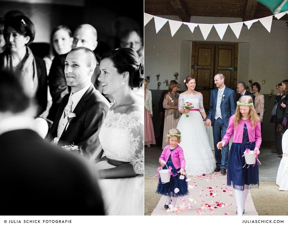 Auszug des DIY-Hochzeitsdekoration bei freier Trauung auf Burg Hülshoff