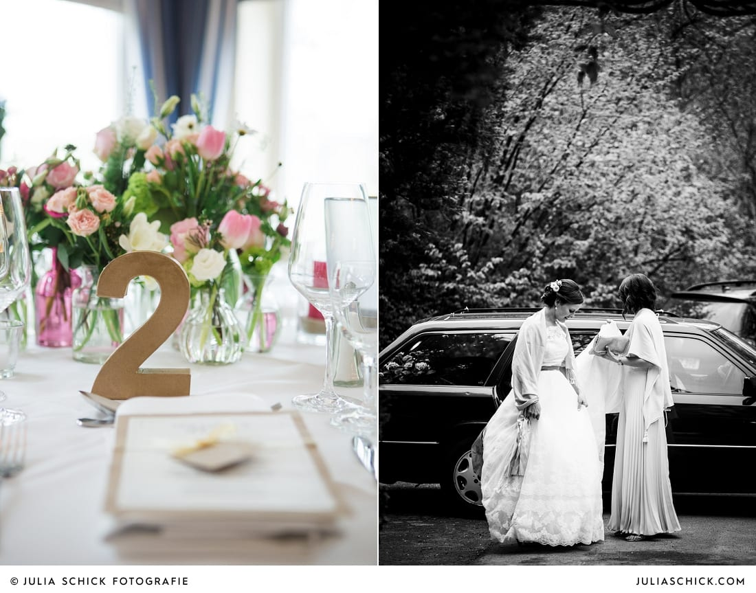 Hochzeitsdekoration von Blütenzauber auf demSudmühlenhof, Braut steigt aus dem Auto