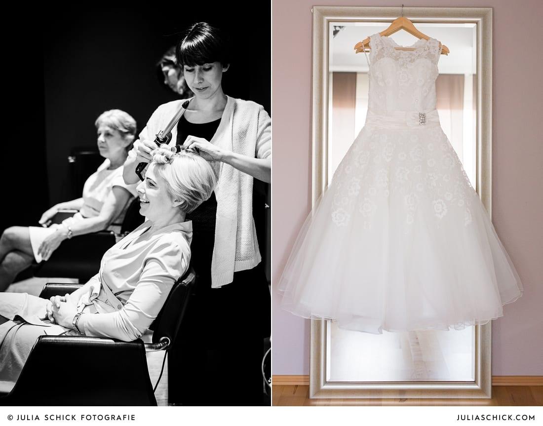 Braut beim Getting Ready bei Weiper Friseure in Havixbeck, Brautkleid von Justin Alexander