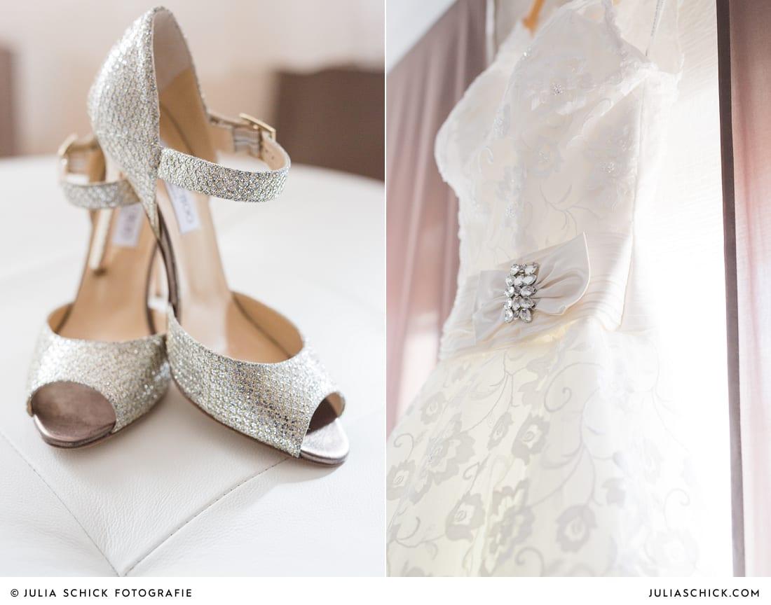 Brautschuhe von Jimmy Choo, Brautkleid von Justin Alexander