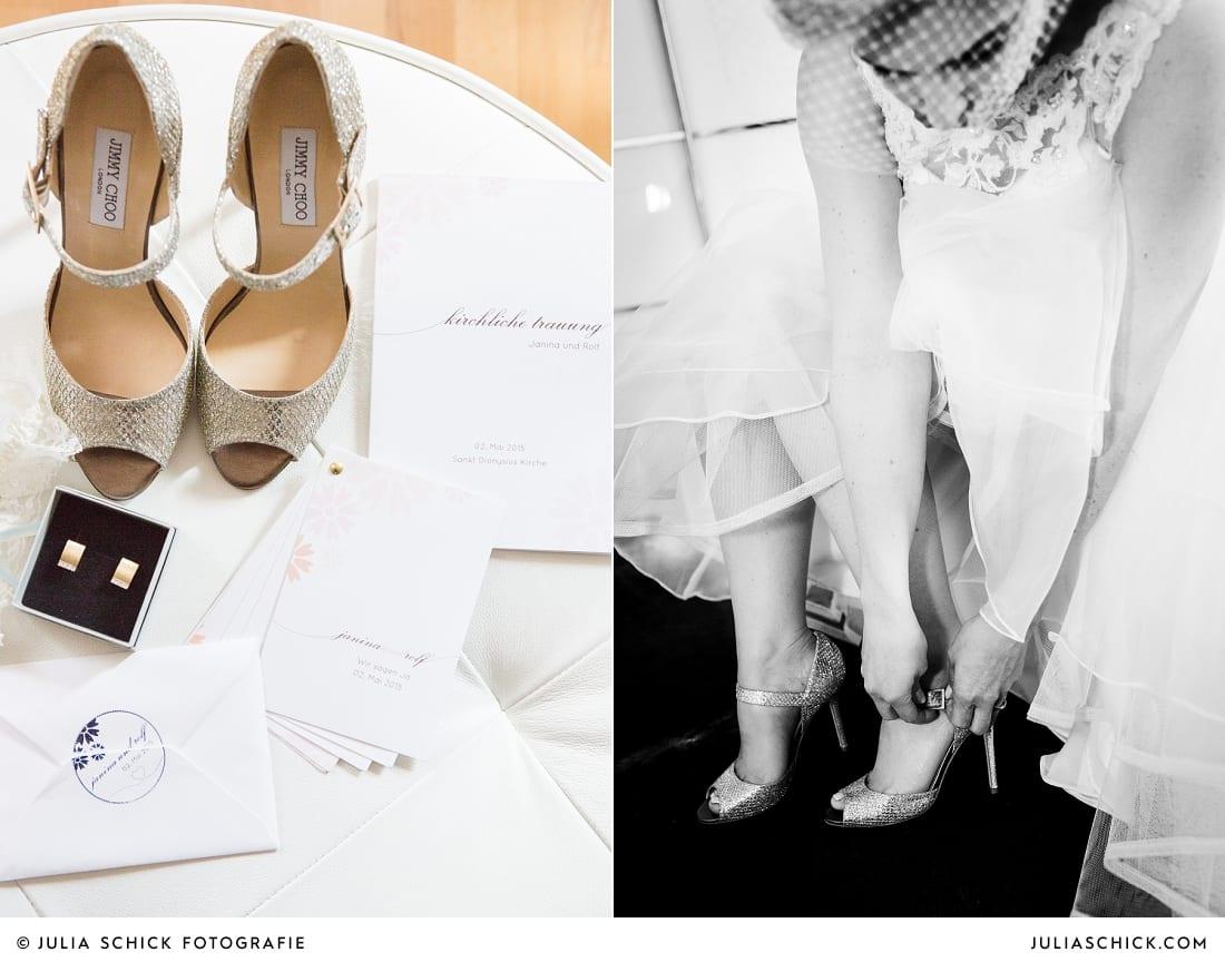 Brautschuhe von Jimmy Choo, Braut beim getting Ready