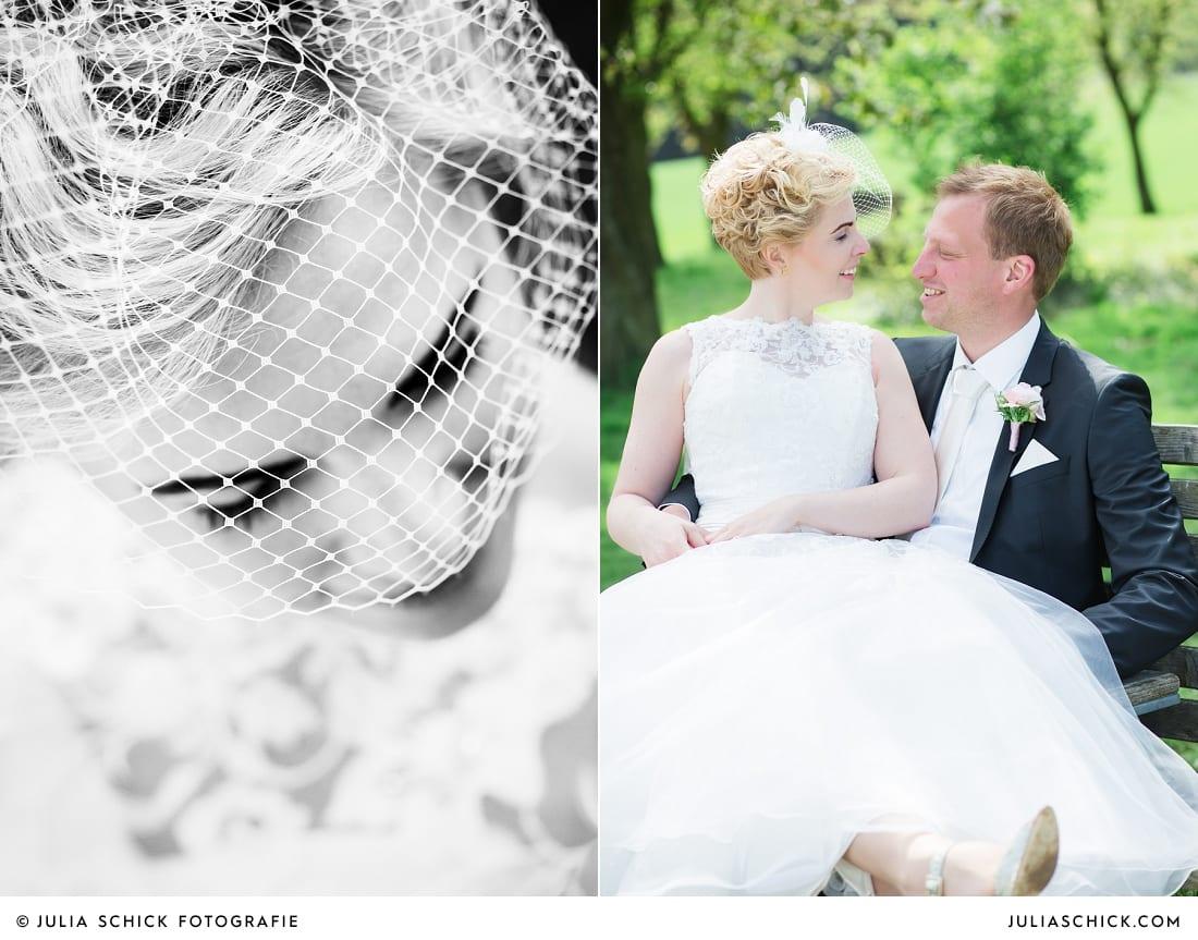 Braut mit Fascinator beim Hochzeitsfotoshooting in den Baumbergen bei Havixbeck