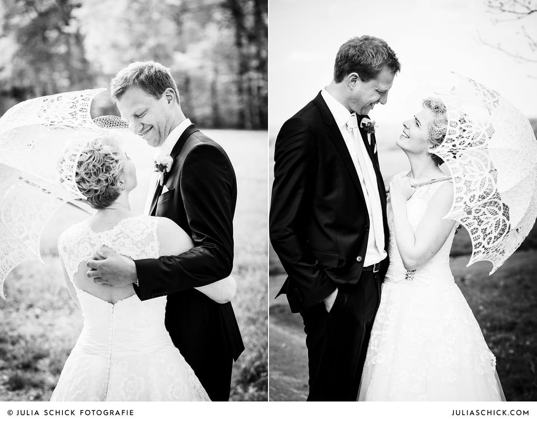 Brautpaar bei Hochzeitsfotoshooting in den Baumbergen in Havixbeck