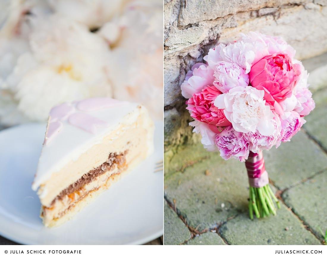 Hochzeitstorte von Café Classique auf dem Marienhof in Nottuln an, pinker Brautsstrauß aus Pfingstrosen